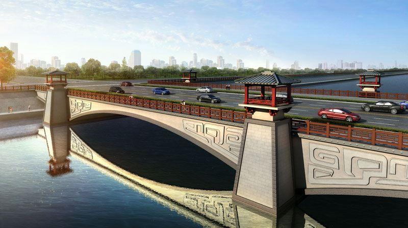 桥梁 桥梁效果图七                本桥为城市景观桥,桥型主体结构为