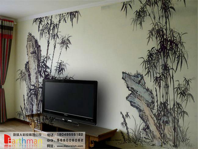 中式建筑手绘墙
