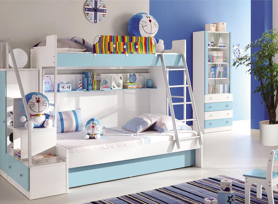 可爱多儿童家具彩色上下床,结构安全,彩色搭配符合儿童身心成长的