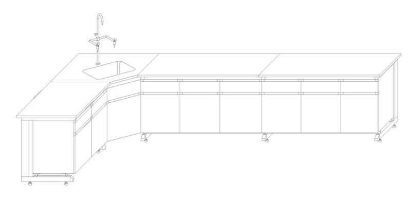 乘宇实验室家具材质说明 1,钢木结构实验中央台/边台/转角台/水池台