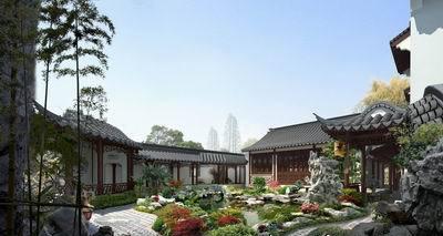 中式四合院别墅庭院