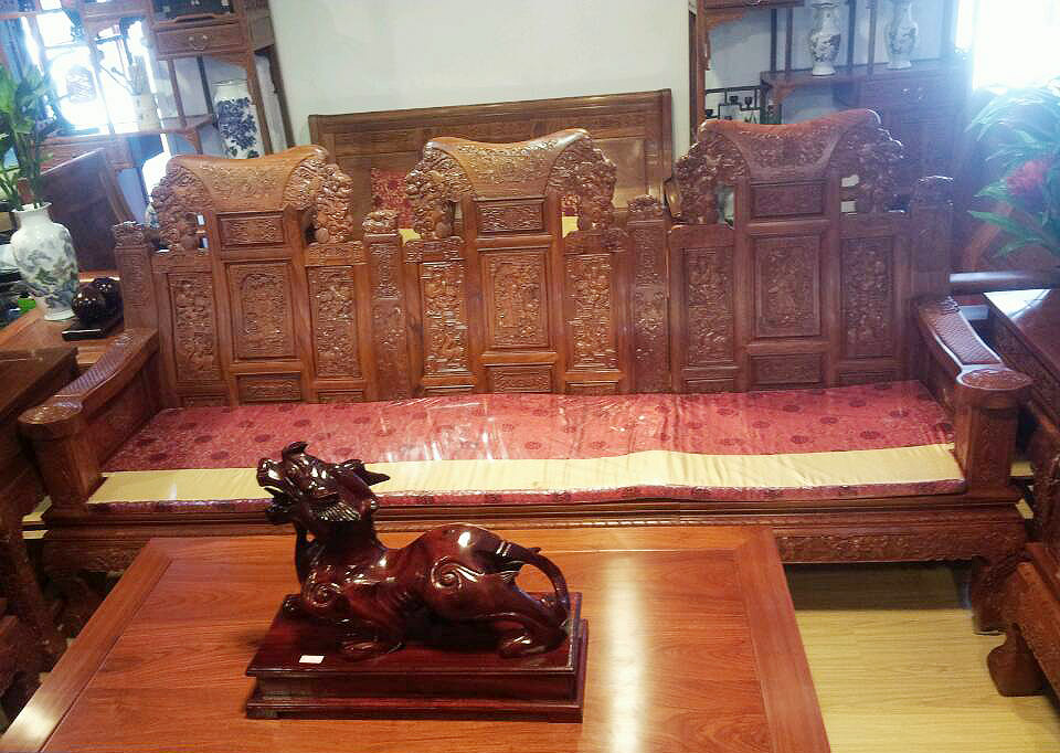 【象头财运滚滚六件套沙发|大连红木沙发|大连红木