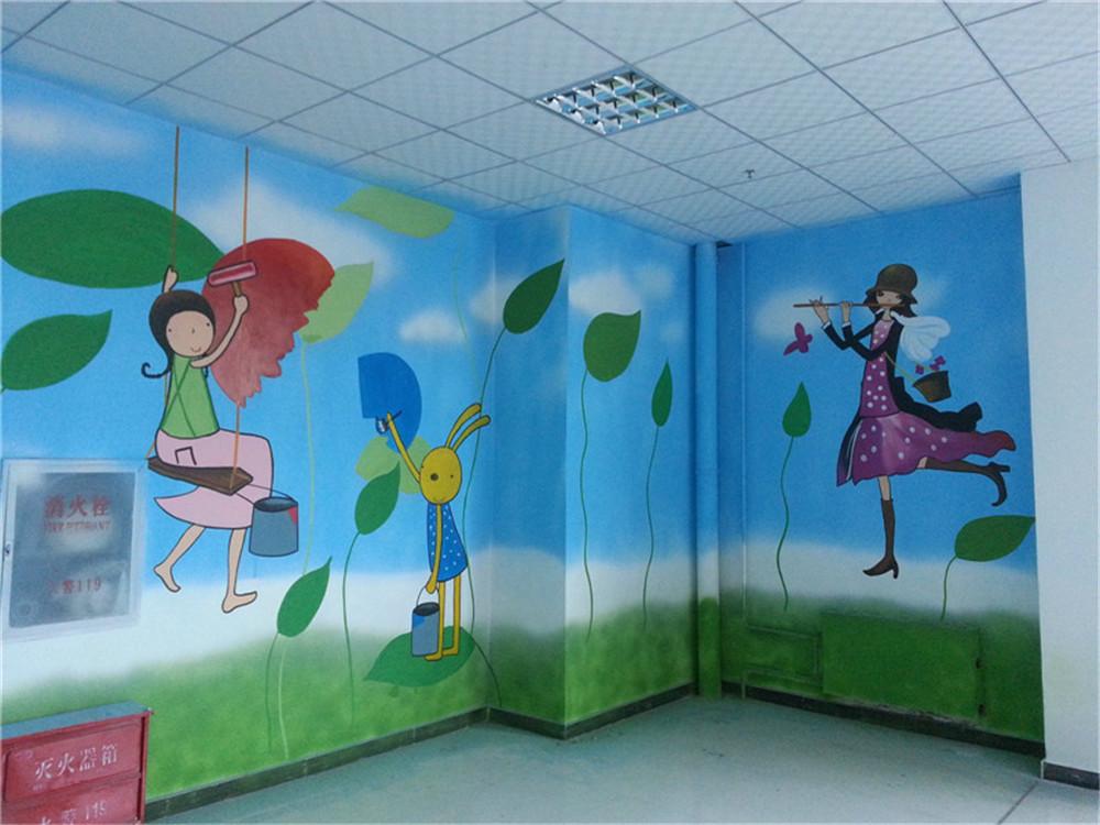 石家庄稻米宝贝儿童城墙体彩绘|石家庄手绘墙|石家庄手绘公司|石家庄