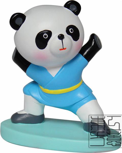 泥塑工艺品 生日礼物 功夫熊猫 家居婚庆创意桌面摆件