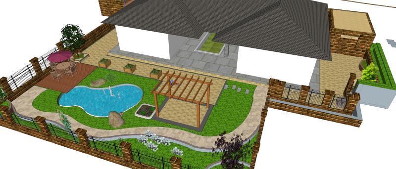 園林景觀設計 設計主旨: 以人為本,充分滿足業主需求,創造舒造宜人的私家花園景觀; 園林設計已綠色最大化,設計多處花壇、花池、花缽,讓綠色點綴生活,讓眼睛充滿綠意,應地制宜,突出合適的才是最好的,讓景觀恰到好處