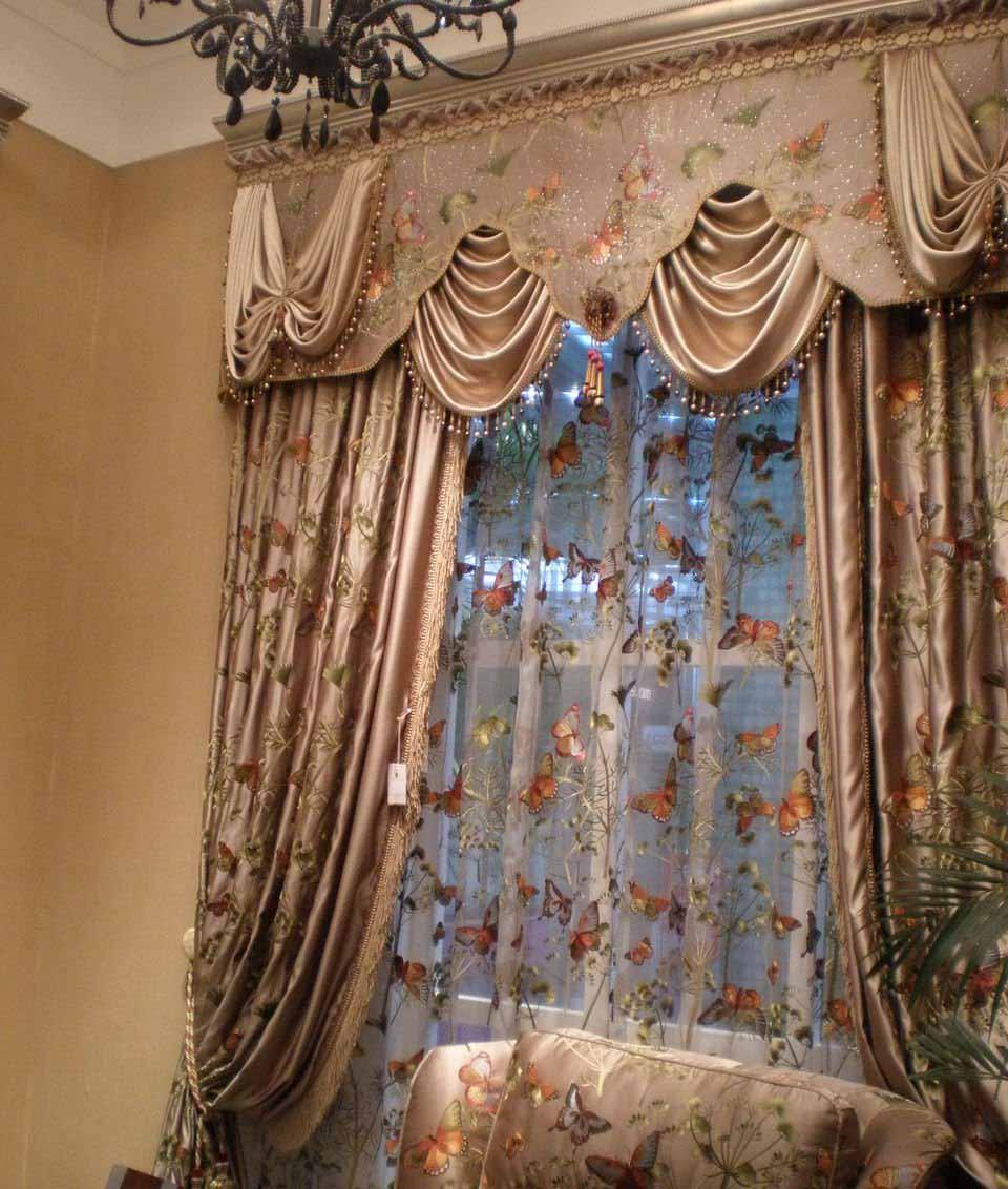 地中海式,美式,欧式,新古典式及现代简欧等风格窗帘.
