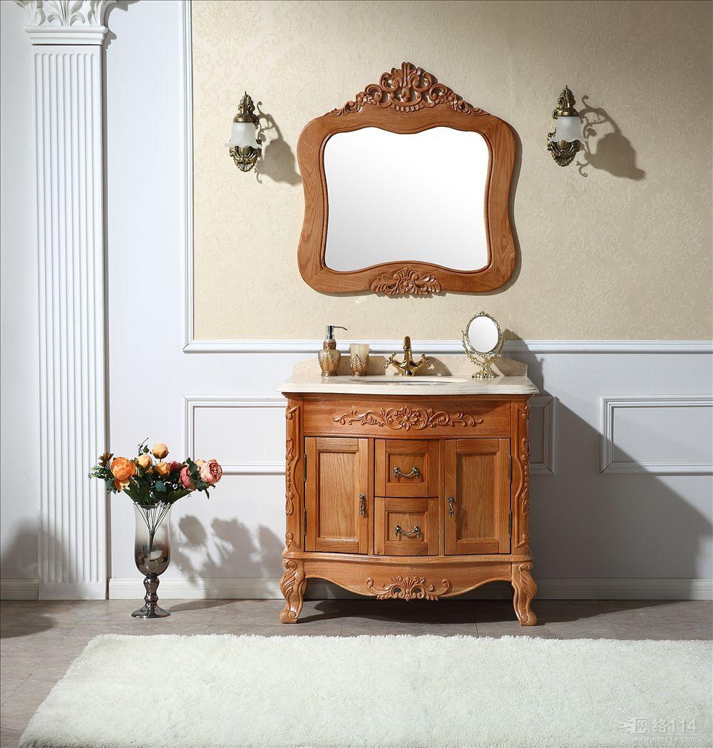 【欧式橡木浴室柜组合大理石洗脸盆吊柜洗漱台落地柜