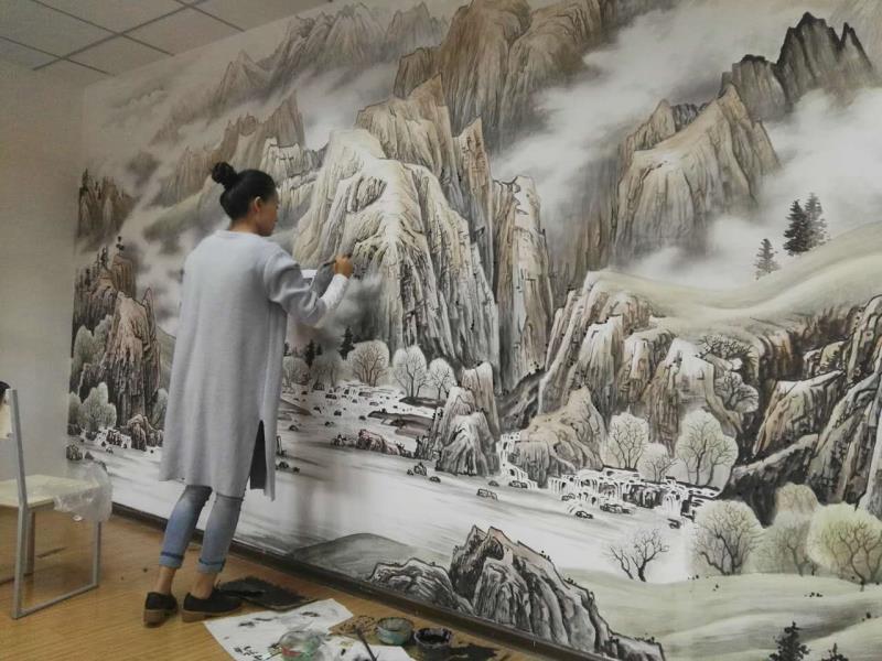 郑州墙体彩绘|茶台背景墙手绘|巨幅手绘山水画|公司会客厅墙体手绘