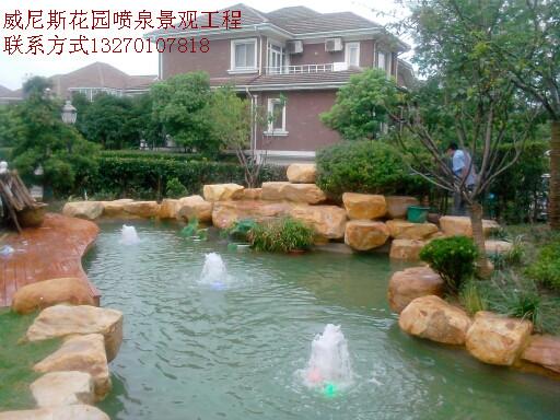 小溪瀑布,水雾,冷雾,玻璃水景墙,绿地球场喷灌,木筏道,别墅游泳池设计