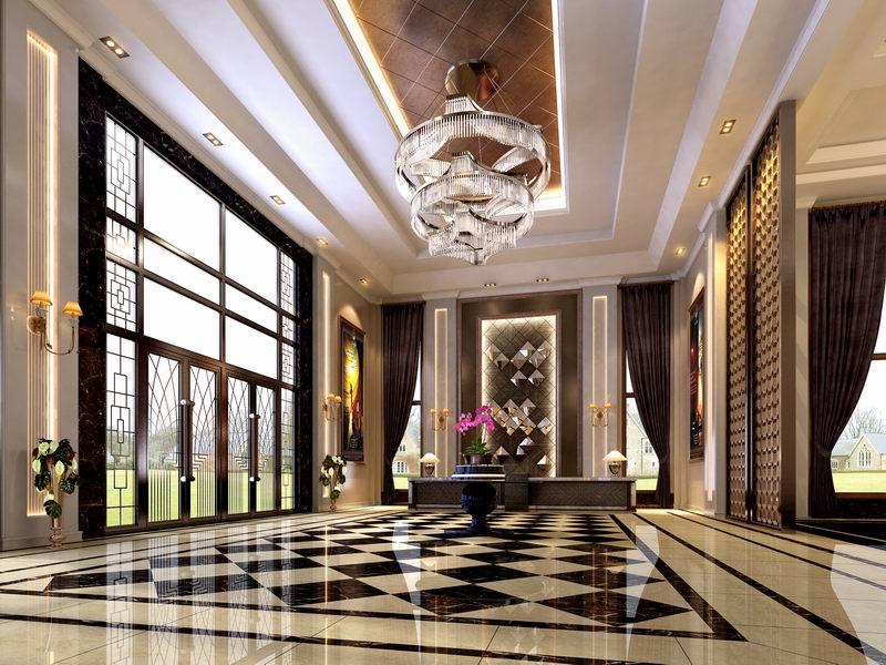 酒店大厅接待台装饰
