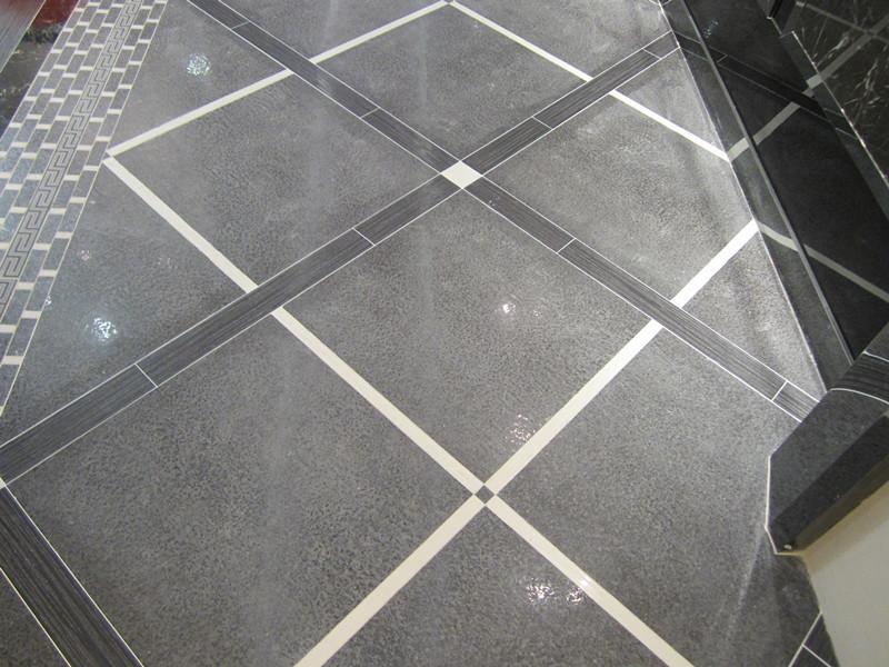 客厅浅灰色瓷砖美缝