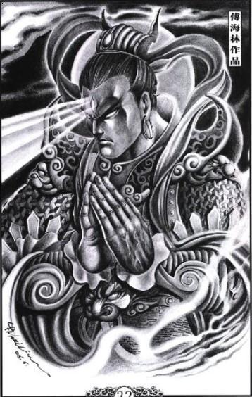 二郎神纹身手稿图案图片