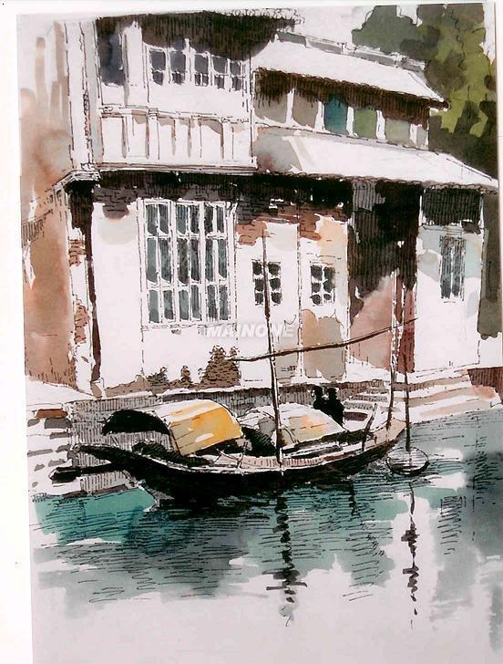 风靡欧美的手绘钢笔淡彩画