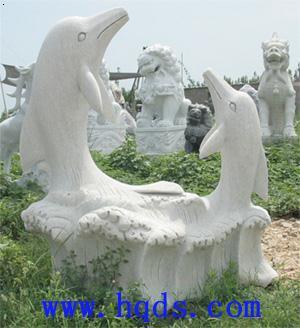动物雕塑-汉白玉海豚雕塑