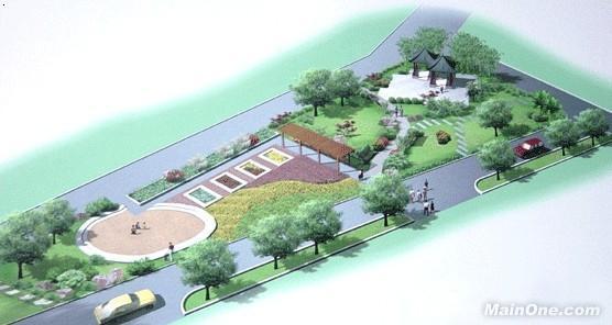 手绘图;; 小区绿化景观效果图