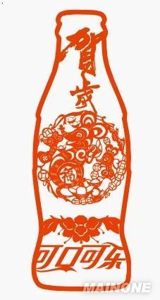 可口可乐艺术瓶(剪纸)