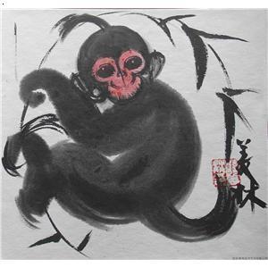 国画 动物画 猴子
