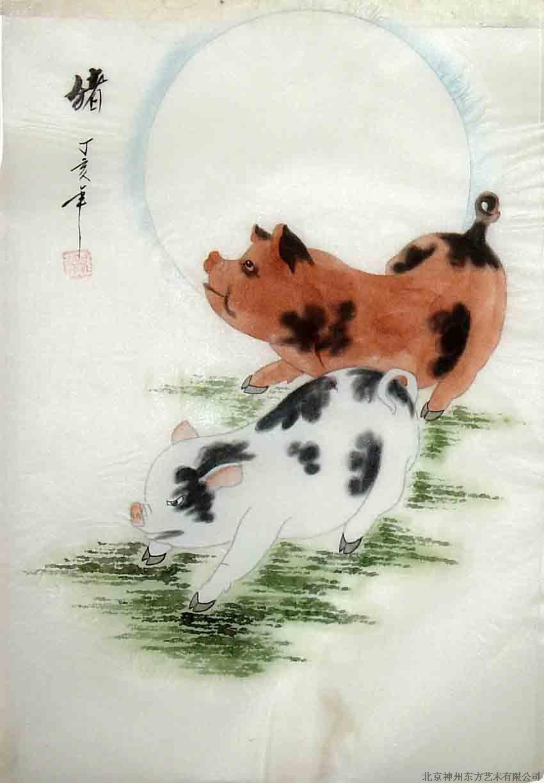 国画 绢画 猪_北京神州东方艺术有限公司-铭万网