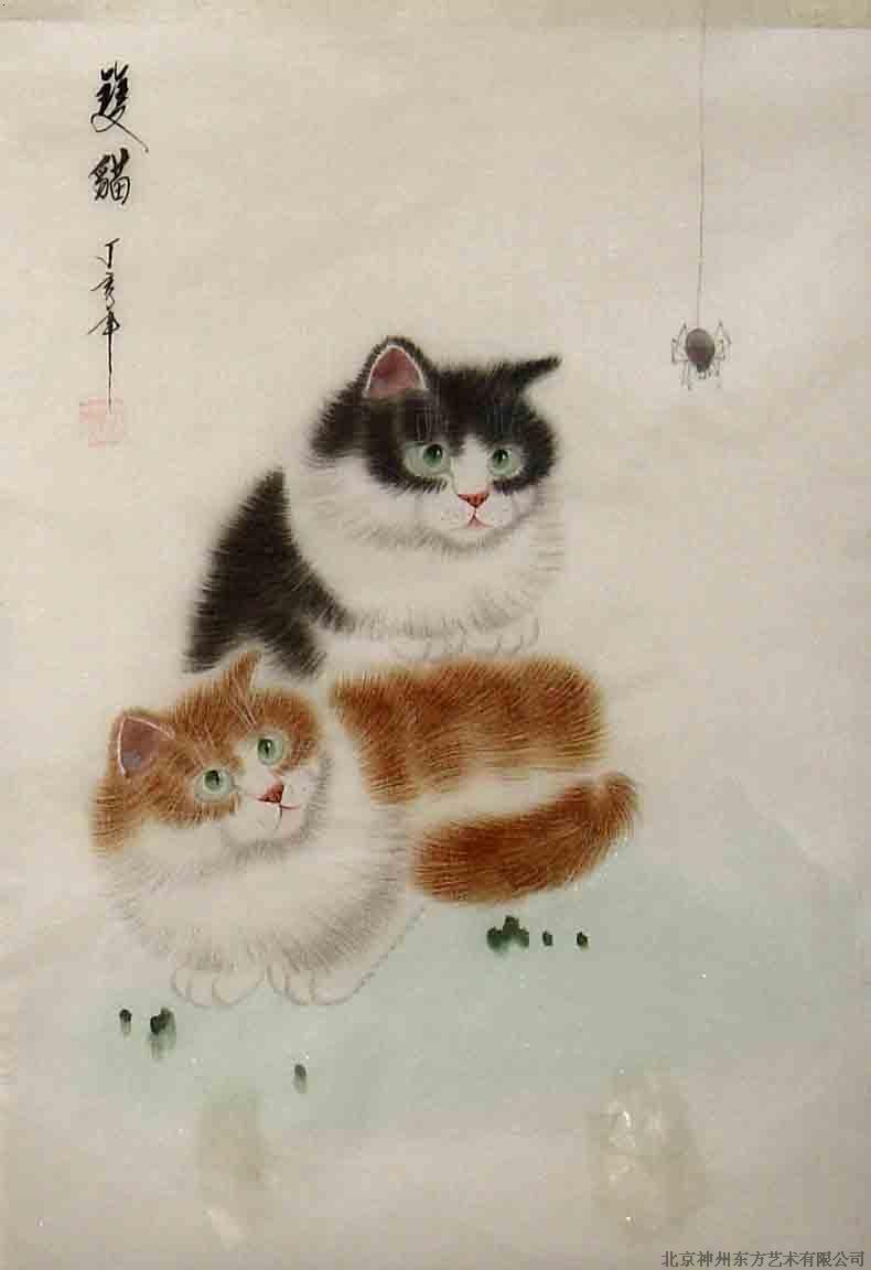 国画 绢画 猫_北京神州东方艺术有限公司-必途