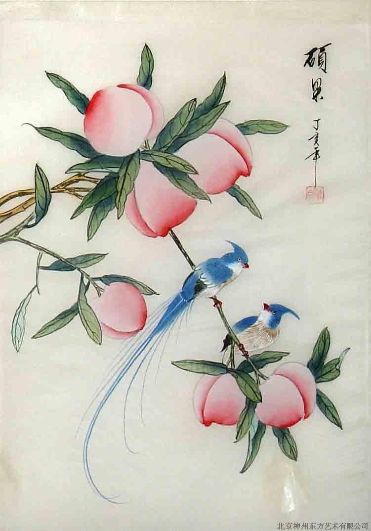 猫咪寿桃手绘图