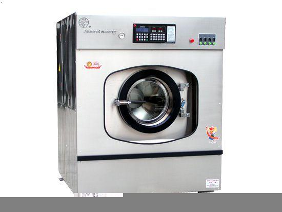 式全自动工业洗衣机并配以液压阻尼器,实现了超低震动,采用后排水结构