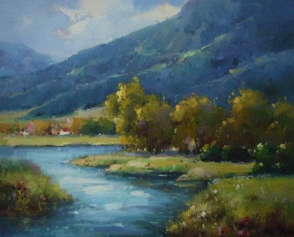 欧式小孩风景油画
