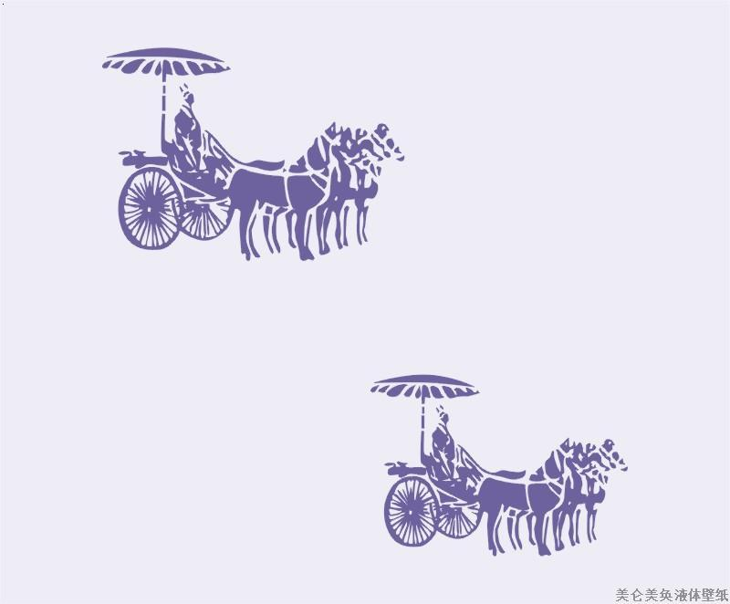 古代马车印花壁纸