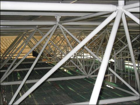 工程案例--体育馆钢结构网架支撑.