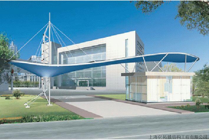 贵州膜结构工厂大门,贵阳张拉膜建筑入口,膜结构入口标志