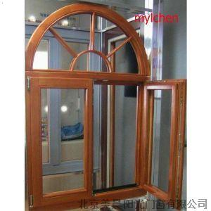 铝包木圆弧窗-平开上悬窗-高档铝木复合门窗-别墅