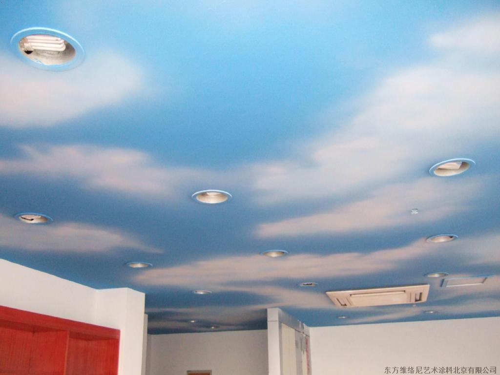 墙体彩绘蓝天白云