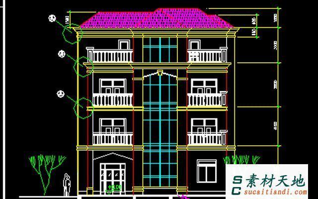 300平米danceng别墅平面cad设计图展示