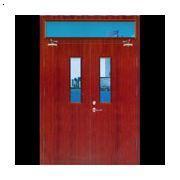 木质双扇带玻璃带亮窗隔热防火门