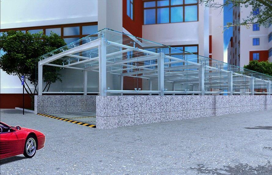 汽车坡道钢结构雨篷出入口雨棚阳光雨棚设计