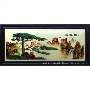 铜版画家居装饰画 中式客厅沙发背景墙画 山水挂画《迎客松》国画有框