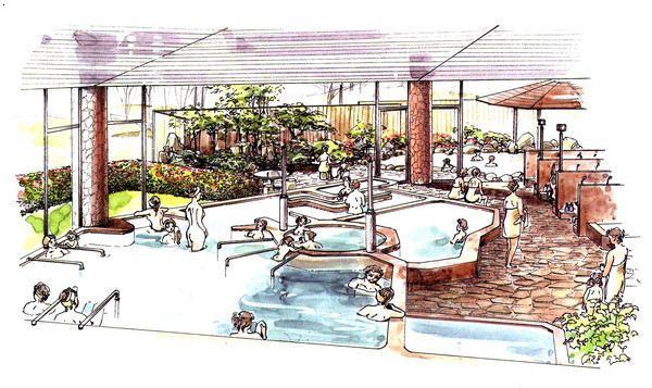 日式温泉设计手绘效果图|湖北生态度假区设
