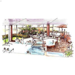 日式温泉设计手绘效果图| 湖北生态度假区设计|湖北生态园设计公司