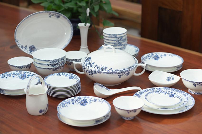 50头青花缘餐具