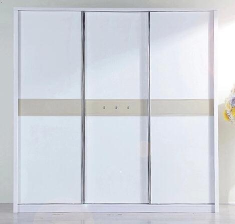 卧室简约白色三开门大衣柜大容量推拉门衣柜