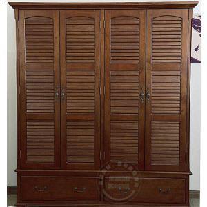 定制实木衣柜卧室衣橱 储物柜 阳台简约现代环保家具衣柜 百叶门