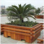 城阳防腐木花箱制作 木质花盆生产安装