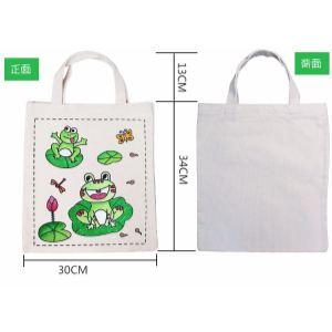 定制小孩手绘纯棉帆布袋子diy绘画用品涂鸦空白幼儿园儿童美术材料