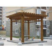 胶州高新区厂家防腐木廊架 城阳庭院木质凉亭架
