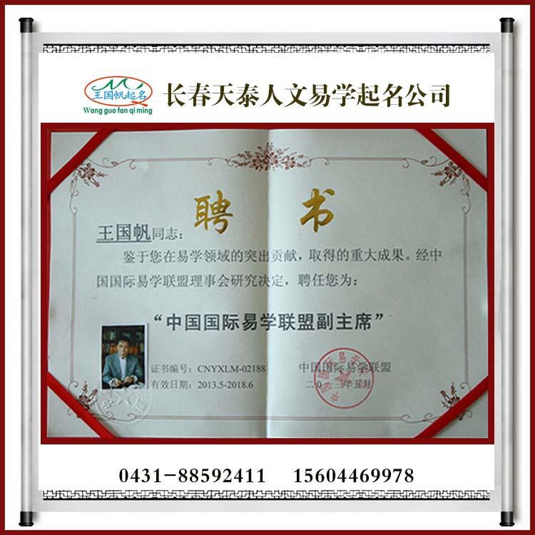 中国国际易学联盟副主席证书