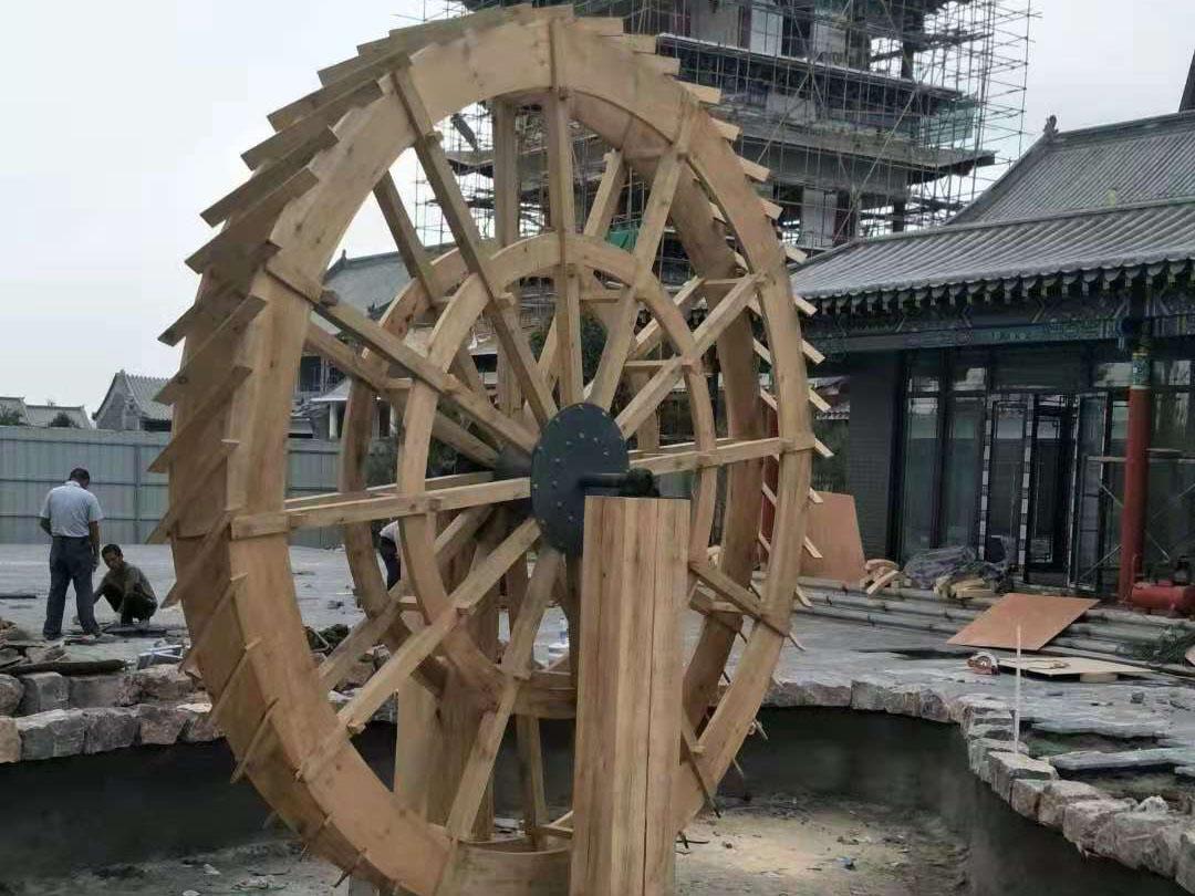 防腐木木桥水车