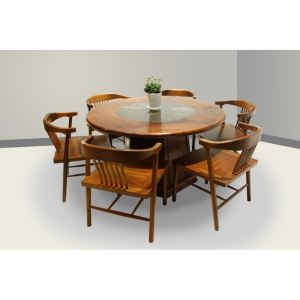 湖南紅木家具——緬花新中式圓枱