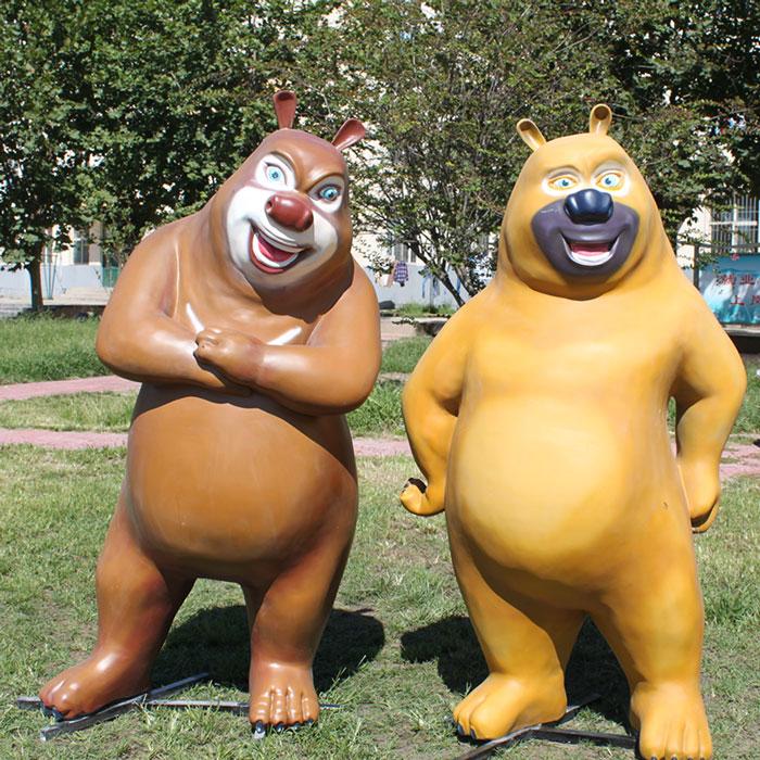 卡通人物玻璃钢雕塑-熊大熊二
